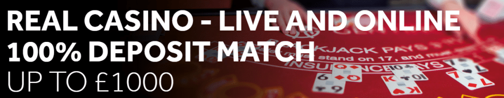 Live casino offer on the Genting Casino section