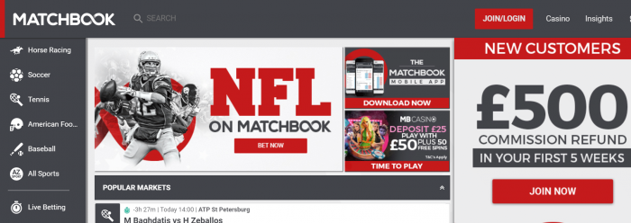 matchbook site screenshot