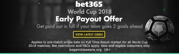 bet365 early pay out world cup