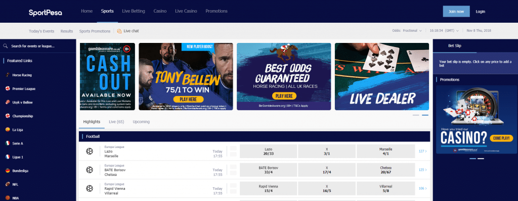 sportpesa homepage