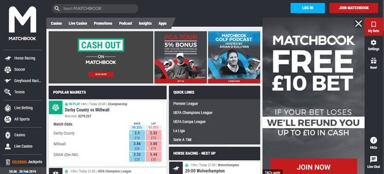 How Matchbook Website Looks