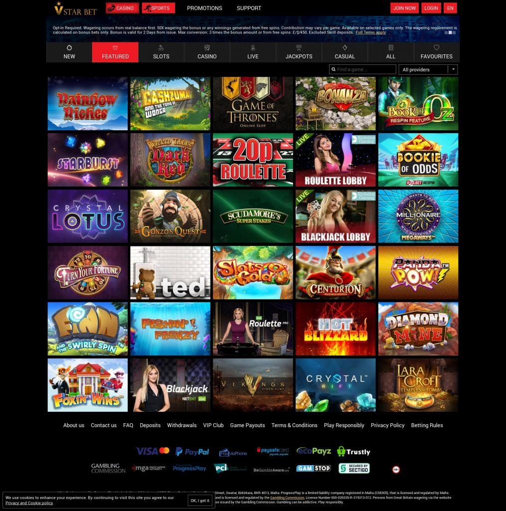 Vstar Top Casino Plays