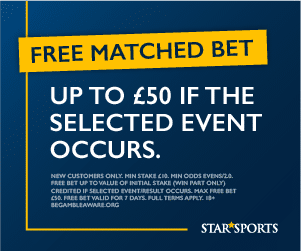 Star Sports Bet promo code: Claim up to £50 in free bet funds